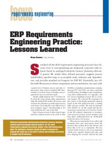 ERP requirements engineering practice: lessons learned - Software ...