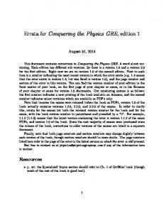 Errata for Conquering the Physics GRE - Physics GRE Prep
