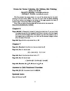 Errata for Vector Calculus, 4th Edition, 6th Printing Chapter 6 ...