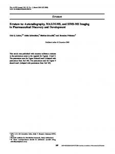 Erratum Erratum to: Autoradiography, MALDI-MS, and ... - Springer Link