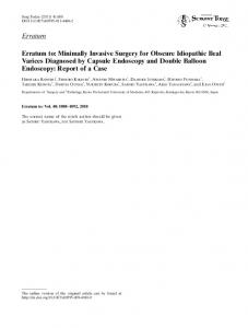 Erratum Erratum to: Minimally Invasive Surgery for ... - Springer Link