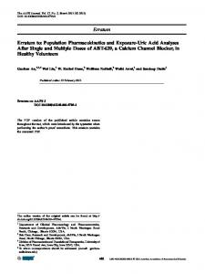 Erratum Erratum to: Population Pharmacokinetics and Exposure-Uric ...