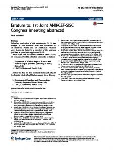 Erratum to: 1st Joint ANIRCEF-SISC Congress (meeting abstracts)