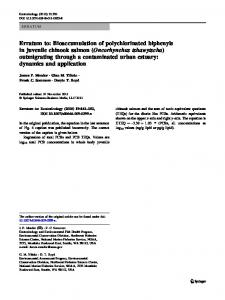 Erratum to: Bioaccumulation of polychlorinated biphenyls in juvenile ...
