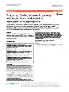Erratum to: Cardiac ischemia in patients with septic ... - Springer Link