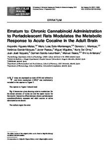Erratum to: Chronic Cannabinoid Administration to Periadolescent ...
