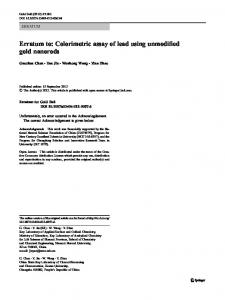 Erratum to: Colorimetric assay of lead using ... - Springer Link