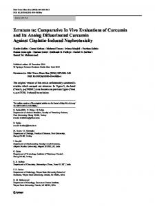 Erratum to: Comparative In Vivo Evaluations of Curcumin and Its ...