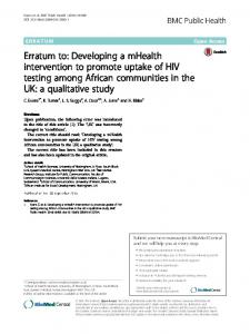 Erratum to: Developing a mHealth intervention to promote uptake of ...