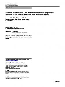 Erratum to: Multifocal CNS infiltration of chronic ... - Springer Link
