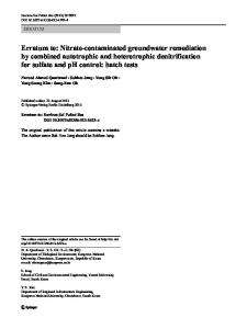 Erratum to: Nitrate-contaminated groundwater remediation by ...