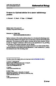 Erratum to: Optimal solution for a cancer radiotherapy problem ...