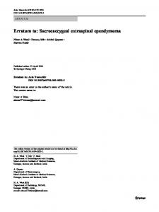 Erratum to: Sacrococcygeal extraspinal ependymoma - Springer Link
