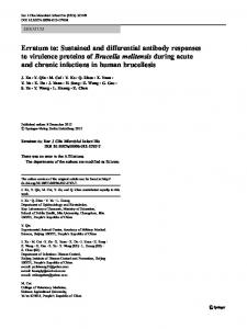Erratum to: Sustained and differential antibody responses to virulence ...