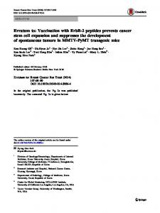 Erratum to: Vaccination with ErbB-2 peptides prevents cancer stem ...