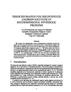 error estimation for discontinuous galerkin solutions of ... - rpi scorec