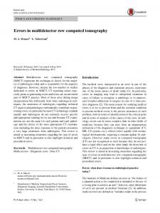 Errors in multidetector row computed tomography