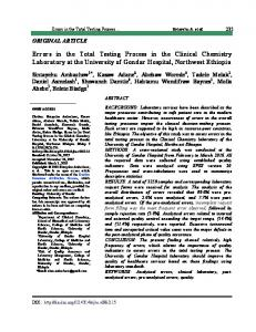 Errors in the Total Testing Process in the Clinical Chemistry