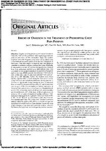 errors of omission in the treatment of prehospital chest ...