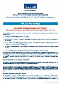 Errors & Omission Policy Wordings.cdr - IRDA