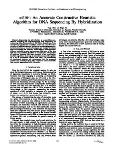 eSBH: An Accurate Constructive Heuristic Algorithm for DNA ...