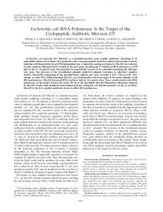 Escherichia coli RNA Polymerase Is the Target of the Cyclopeptide ...