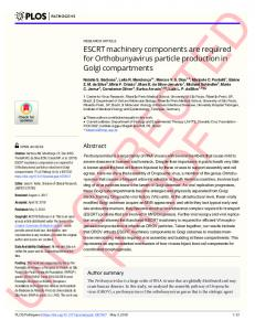 ESCRT machinery components are required for ... - PLOS