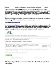 ESLW 40 Online Workbook Instructions: Grammar in Context PRINT ...