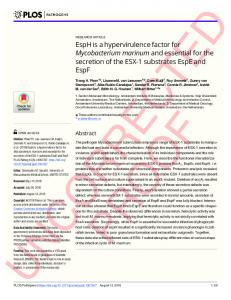 EspH is a hypervirulence factor for Mycobacterium marinum ... - PLOS