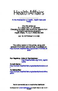 ESSAY: Changing The Health Care Workforce ...