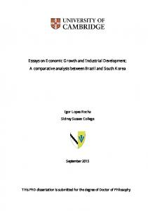 Essays on Economic Growth and Industrial ...