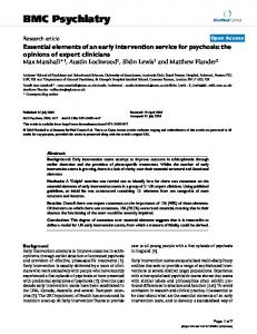 Essential elements of an early intervention service for psychosis: the ...