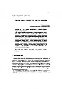 Essential Factors Affecting EFL Learning Outcomes