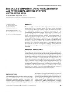 essential oil composition and in vitro antioxidant ... - Wiley Online Library