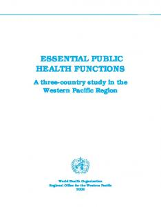 essential public health functions - WHO Western Pacific Region