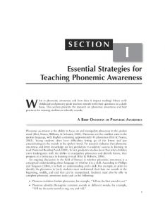 Essential Strategies for Teaching Phonemic Awareness SECTION
