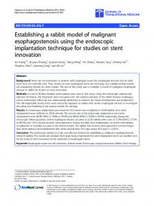 Establishing a rabbit model of malignant esophagostenosis using the ...