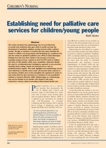 Establishing need for palliative care services for children/young people