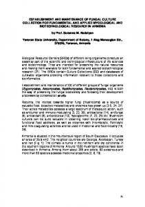 establishment and maintenance of fungal culture collection for ...
