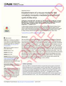 Establishment of a mouse model for the complete mosquito ... - PLOS