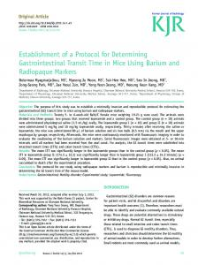Establishment of a Protocol for Determining ... - KoreaMed Synapse