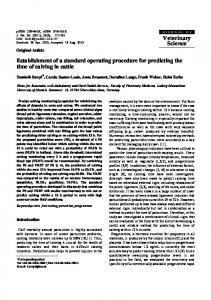 Establishment of a standard operating procedure for predicting the ...