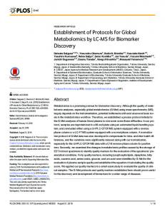 Establishment of Protocols for Global Metabolomics by LC-MS ... - Plos