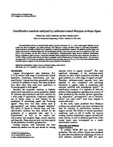 Esterification reactions catalysed by surfactant ... - Semantic Scholar