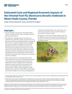 Estimated Costs and Regional Economic Impacts of the ... - UF's EDIS