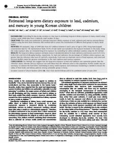 Estimated long-term dietary exposure to lead, cadmium, and ... - Nature