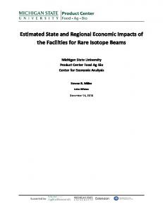 Estimated State and Regional Economic Impacts of the Facilities for
