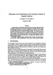Estimates on the Distribution of the Condition Number of Singular ...