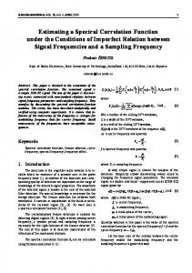 Estimating a Spectral Correlation Function under ... - Radioengineering