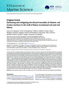 Estimating and mitigating the discard mortality of Atlantic cod (Gadus ...
